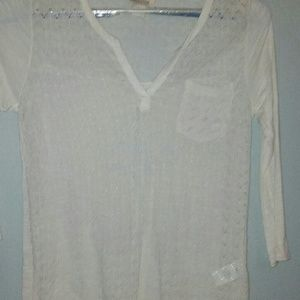 Lucky Brand cream lace top size large